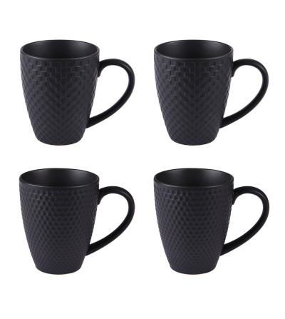 Coffret 4 mugs black snow mat 35 cl-TABLE-PASSION